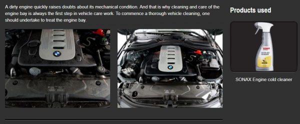 Dung dịch làm sạch khoang động cơ SONAX Engine Cold Cleaner, 500ml