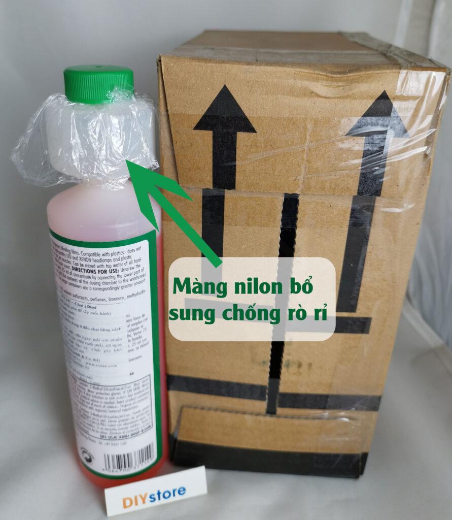 DIYstore bổ sung thêm màng nilon vào nắp giúp chai không rò rỉ khi gửi qua chuyển phát